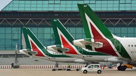 Le code di alcuni aerei dell'Alitalia sulla pista di Fiumicino (Ansa)
