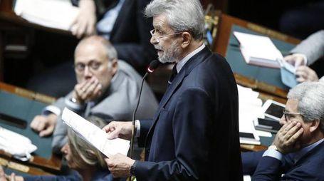 Damiano durante la discussione alla Camera dei Deputati sui vitalizi (Ansa)