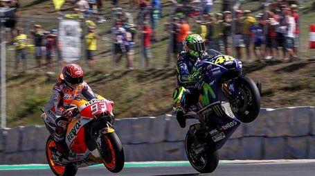 MotoGp Brno, Valentino Rossi e Marc Marquez (Ansa)
