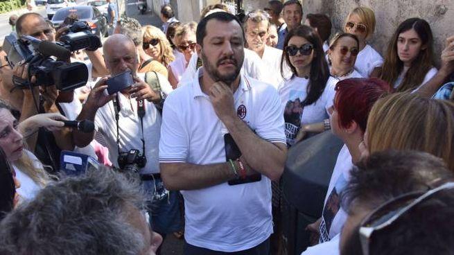Salvini a Livorno (foto Novi)