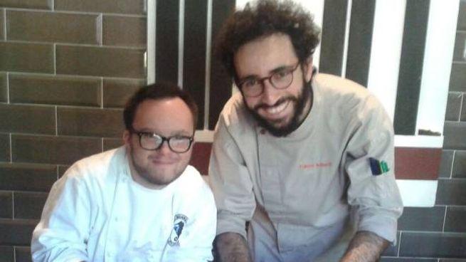 Luca Leardini  con lo chef  Franco Aliberti  del ristorante Evviva di Riccione