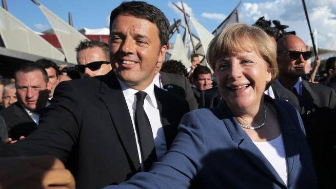 Matteo Renzi e Angela Merkel a Expo