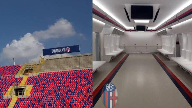 Lo stadio Dall'Ara e gli spogliatoi dopo il restyling (foto Facebook Bfc)