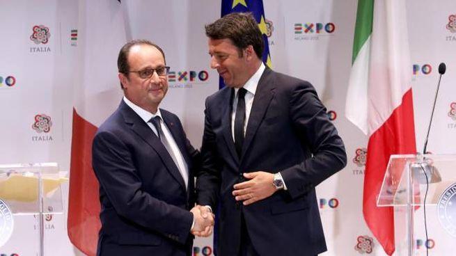 Il presidente francese Francois Hollande e il premier Matteo Renzi nel giugno scorso