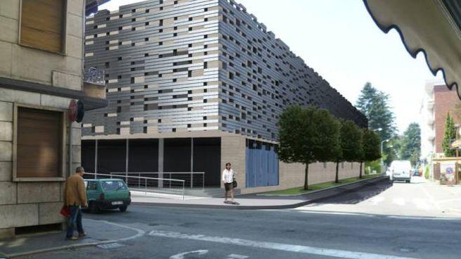 Una ricostruzione di come dovrebbe apparire all'esterno il multipiano di via Staurenghi