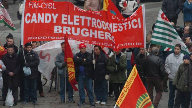 Una manifestazione dei lavoratori della Candy