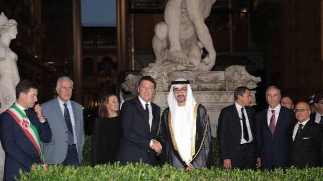 PRESSPHOTO Firenze. Il premier Renzi riceve in Palazzo Vecchio il principe ereditario saudita Mohammad Bin Zayed Al Nayan  Giuseppe Cabras/New Press Photo