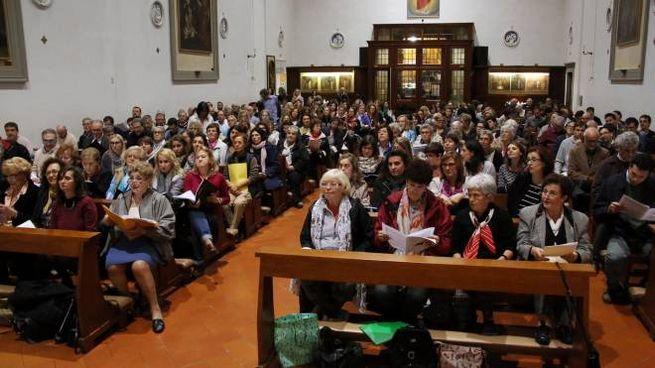 Firenze, prove del coro per il Papa alla chiesa di S. Maria al Pignone. Marco Mori/New Press Photo