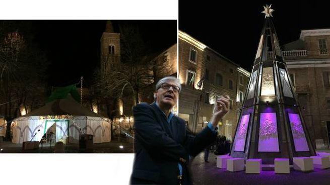 Il circo in piazza delle erbe e la scultura in piazza. Al centro, Vittorio Sgarbi