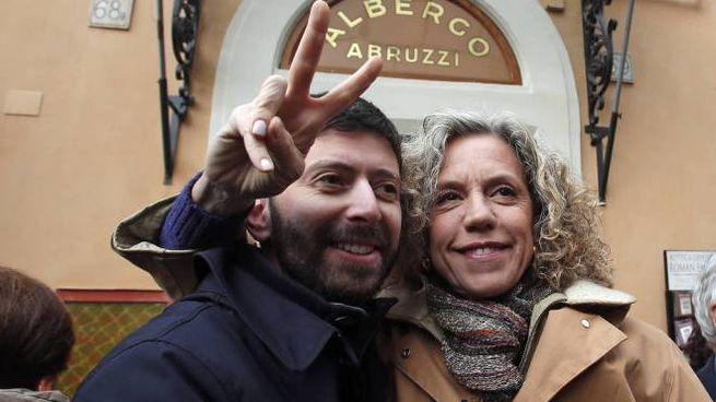 Roberto Speranza e Monica Cirinnà alla manifestazione pro unioni civili (Olycom)