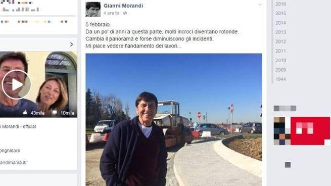 Bologna, la foto postata da Gianni Morandi su Facebook