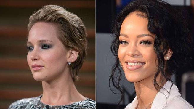 Jennifer Lawrence e Rihanna (Afp)