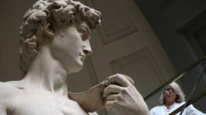 PRESSPHOTO Firenze  Galleria dell'Accademia, iniziano le operazioni di manutenzione de David.  Marco Mori/New Press Photo