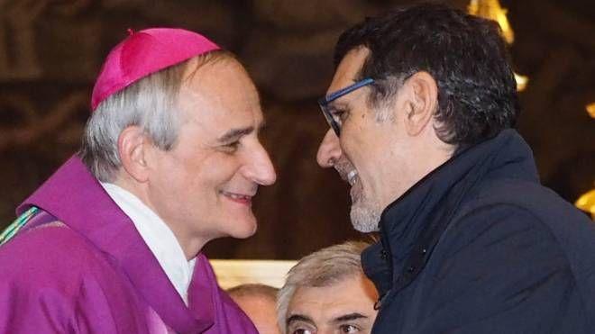 L'arcivescovo Matteo Zuppi e il sindaco Virginio Merola (foto Schicchi)
