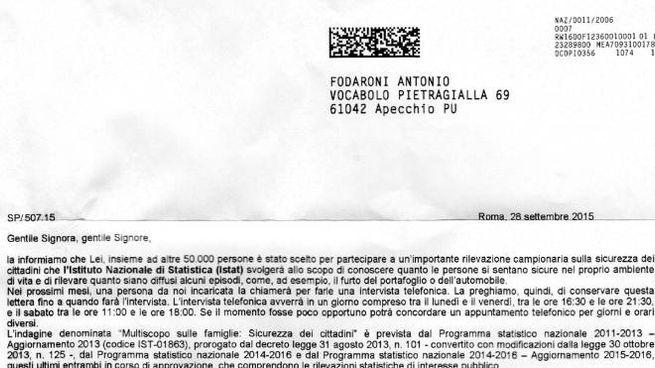 IL CASO A sinistra, lettera dell'Istat. A destra, Antonio Fodaroni