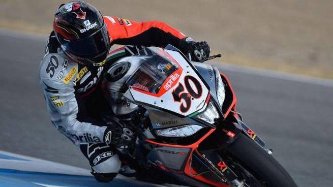 Marco Melandri su Aprilia in Superbike (Ansa)
