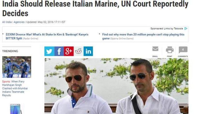 Marò, il rientro di Girone è breaking news sui media indiani (Ansa)