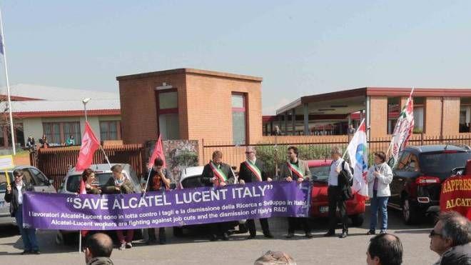 Un presidio di protesta dei lavoratori (Radaelli)