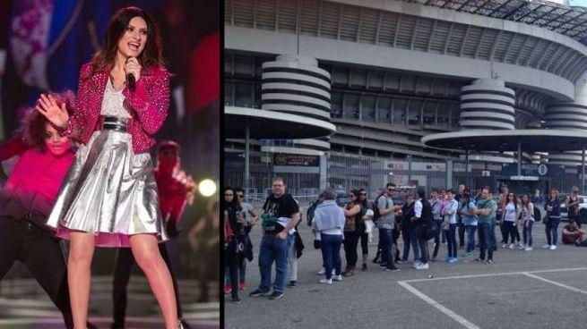 Laura Pausini sul palco e le code allo stadio San Siro di Milano