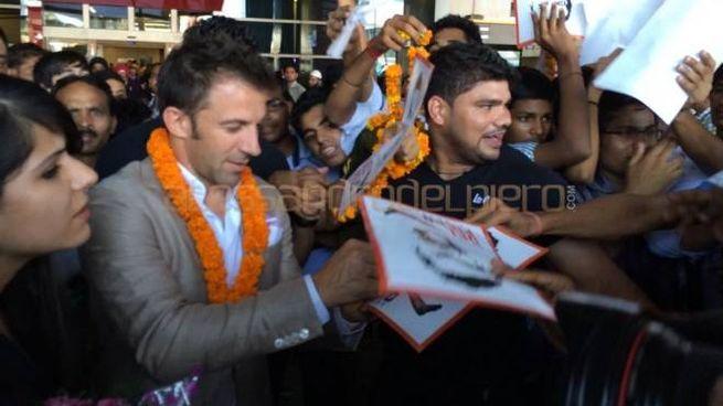 Alessandro Del Piero all'arrivo in India (Foto Twitter)
