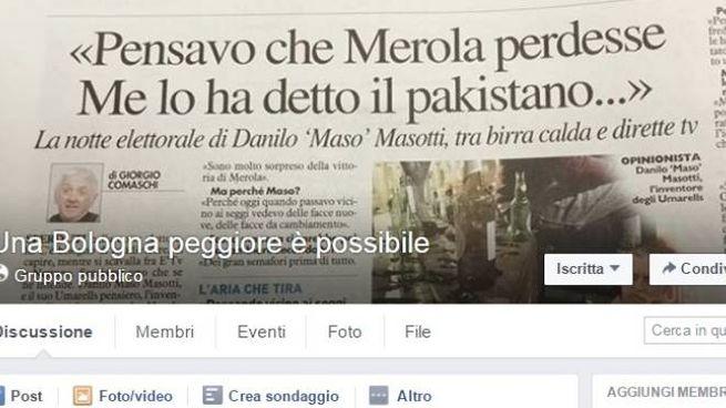 La schermata della pagina Facebook 'Una Bologna peggiore è possibile'