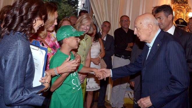 Il presidente Napolitano incontra studente autistico (Ansa)