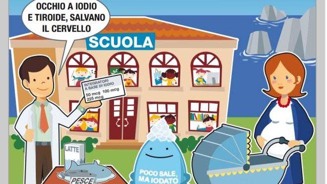 La vignetta che accompagna il progetto italiano contro la carenza di iodio in pediatria