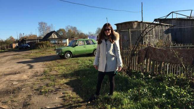 Sarah Maestri durante uno dei suoi viaggi in Bielorussia