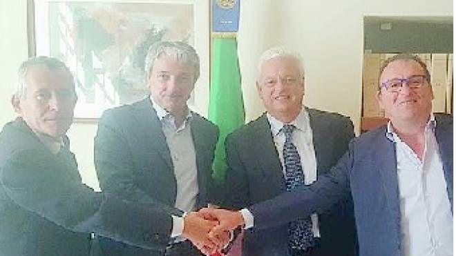 Da sinistra Giuliano Carloni, Giuseppe Pasini, Sauro Accorsi e Mario Ferrari