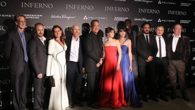 Il cast di Inferno al completo (Mori/New Press Photo)