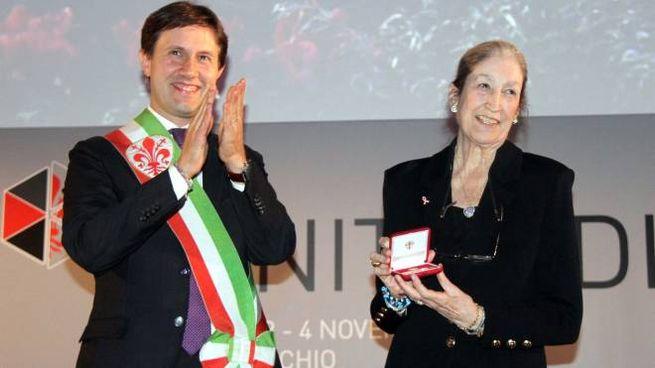 Il Fiorino d'Oro a Jane Fortune nel 2016 (foto Umberto Visintini/New Pressphoto)