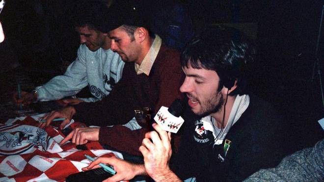 De Pol, Zanus Fortes e Meneghin durante una puntata del programma