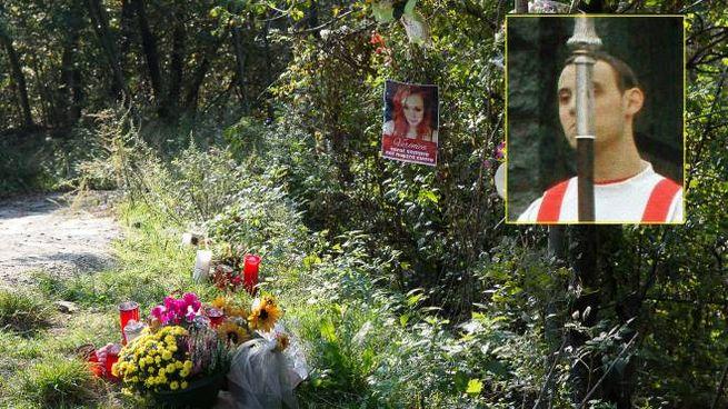 Il luogo del ritrovamento del corpo di Veronica Balsamo e nel riquadro Gianmario Lucchini
