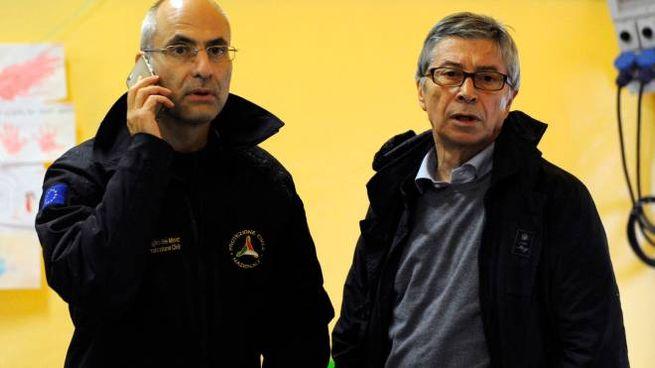 Il capo della Protezione civile Curcio e il Commissario della ricostruzione Vasco Errani