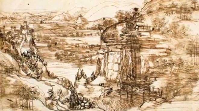 E' la prima opera certa di Leonardo Da Vinci «Il Paesaggio con fiume» del 1473