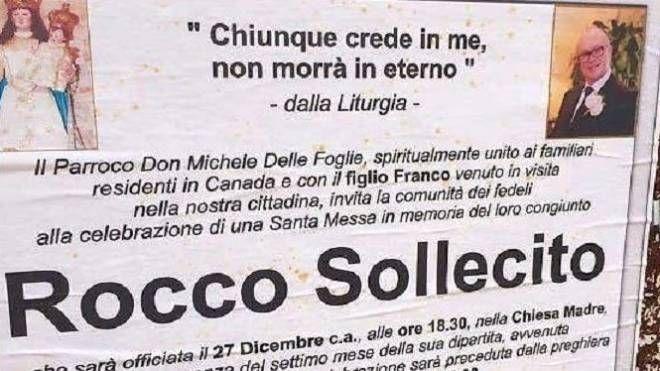 Il manifesto per il boss Rocco Sollecito (Twitter)