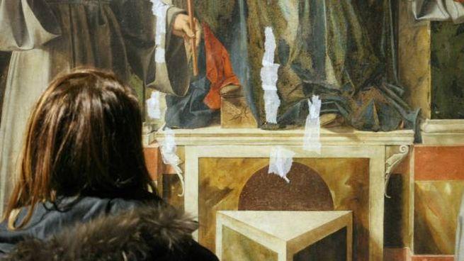 Carta di riso per consolidare alcuni quadri alla pinacoteca di Brera