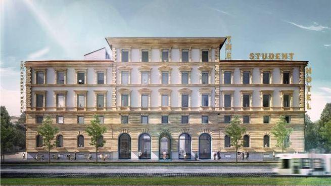 """Ecco come sarà il Palazzo del Sonno: si nota l'insegna """"The Student Hotel"""""""