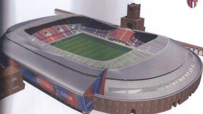 Il rendering che mostra come sarà lo stadio Dall'Ara dopo il restyling