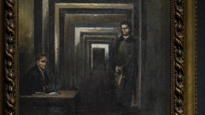 Il quadro di Adolf Hitler in mostra al Museo della Follia (Ansa)