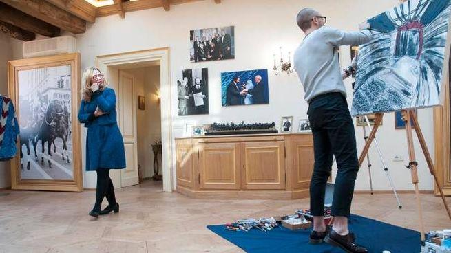Il disegno dal vivo nella Casa Museo dell'artista Francesco Zavattari, alla presenza di Nicoletta Pavarotti