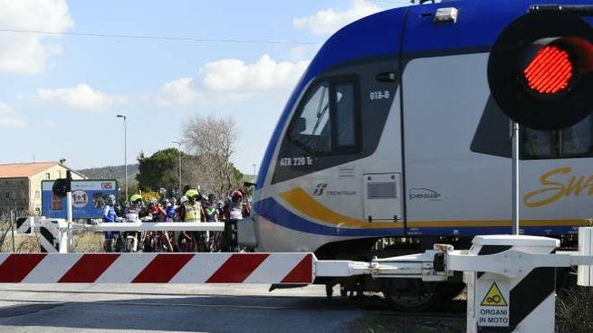 Il passaggio del treno (foto LaPresse/Fabio Ferrari)