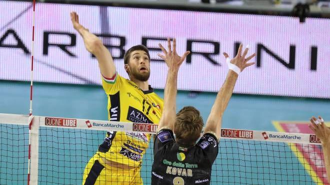 Luca Vettori è stato uno dei migliori in campo nella sconfitta esterna dell'Azimut contro la Lube