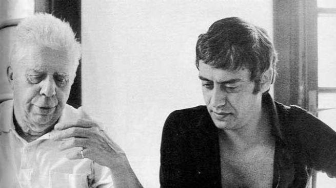Eugenio Montale con Carmelo Bene