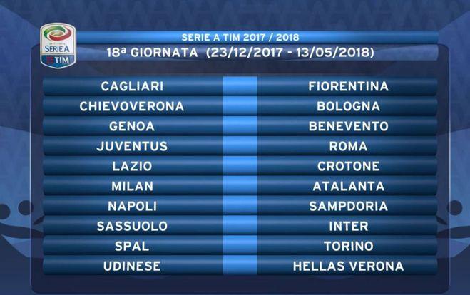 Calendario Serie A 12 Giornata.Calendario Serie A 2017 18 Tutte Le Giornate Quando Sono I