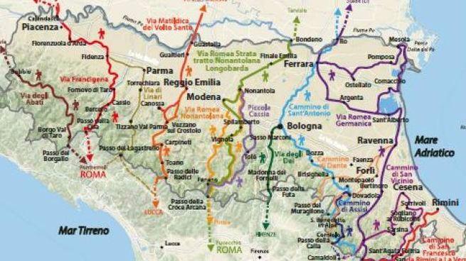 Cartina Della Emilia Romagna.Emilia Romagna Le Vie Dei Pellegrini La Mappa Dei 14