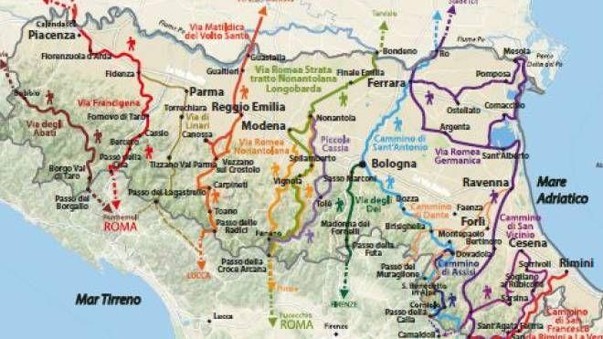 Cartina Emilia Romagna E Marche.Emilia Romagna Le Vie Dei Pellegrini La Mappa Dei 14 Cammini