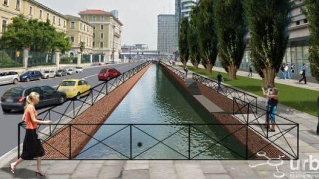Un rendering su come potrebbero trasformarsi  alcune zone di Milano con la riapertura dei Navigli