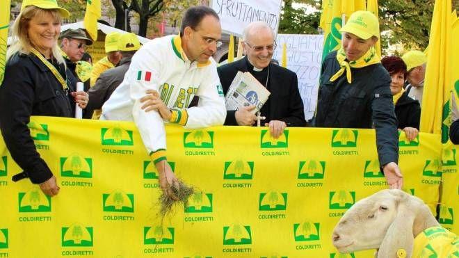 L'iniziativa di Coldiretti per chiedere di fermare le speculazioni sul cibo (Ansa)