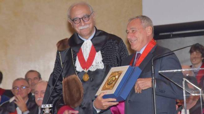 Il rettore Fabio Rugge con il presidente del Senato Pietro Grasso
